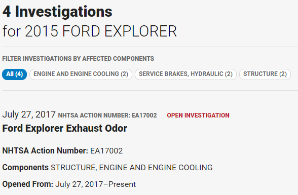 NHTSA Ford Explorer exhaust odor